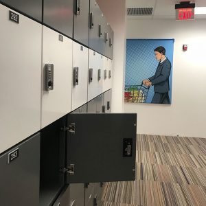 Day-use lockers provide temporary storage for library patrons