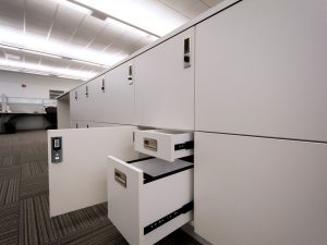 Day-use lockers with interior drawers