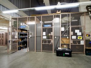 Supply storage cages at Fort Bragg