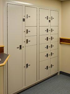 Bank of secure evidence storage lockers