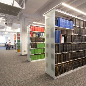 Rows of Cantilever Library Shelving