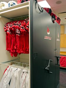 Louisville Football Jersey storage in mobile shelving