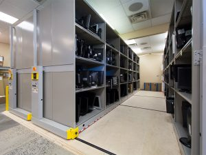 Mobile Shelving to Store Military Base IT Supplies