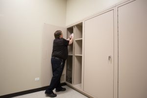Evidence can be passed through from front to back of locker