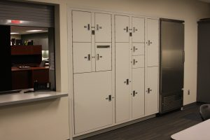 Evidence stored in lockers during processing