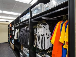 Wake Forest University sports storage unit for hanging uniforms