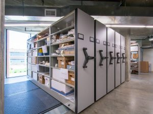 Museum archives can be stored on high-density compact shelving