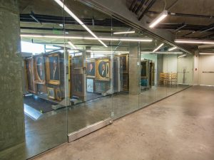 high-density rack stores framed art work