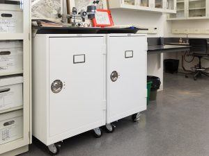 Museum Cabinets can be fitted on casters to allow them to be relocated with ease