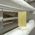 Rolled textile storage racks for museums and archives