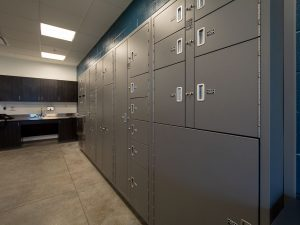 Bank of Secure Evidence Storage Lockers
