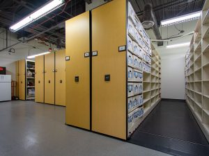 Long-Term Evidence Stored in boxes on High-Density Mobile Shelving