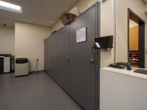 A Bank of Pass-Thru Evidence Storage Lockers