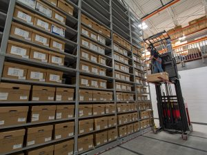 Retrieving Boxes of Evidence Stored in Mobile Shelving System