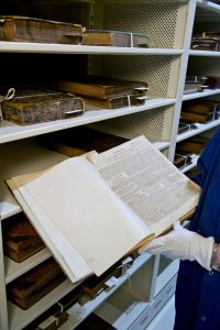 Rare books stored on perforated static shelving