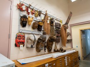 Wall-Mounted Storage to store African masks