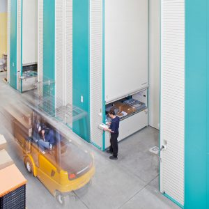 Bank of Hanel Lean Lifts in a warehouse environment