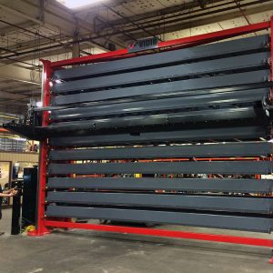 Vertical lift in warehouse used for bar stock storage