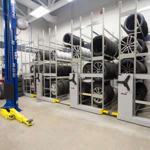Mobile shelving used to store tires
