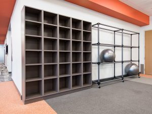 Cubbies for Storage in Corporate Fitness Center
