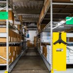 Mobile aisles save space in facilities department warehouse