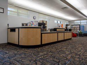 Custom Library Circulation Desk with Book Drop