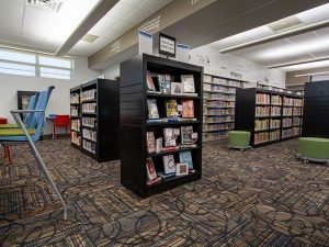 End Panels and Tops Give Library Display Shelving a Custom Look