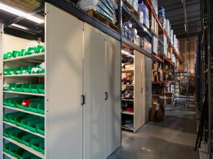 LEVPRO Suspended Storage Shelving in Warehouse setting