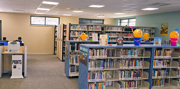 mobile shelving in public library